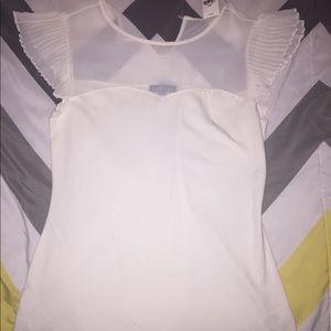 NWT Express Sheer Ruffle Sleeve Shirt, S